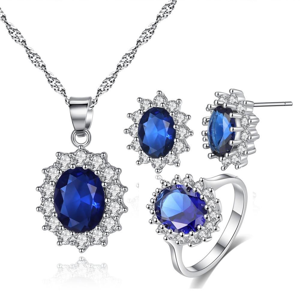 Set Perhiasan Kalung Anting Cincin Silver Berlian Batu ...