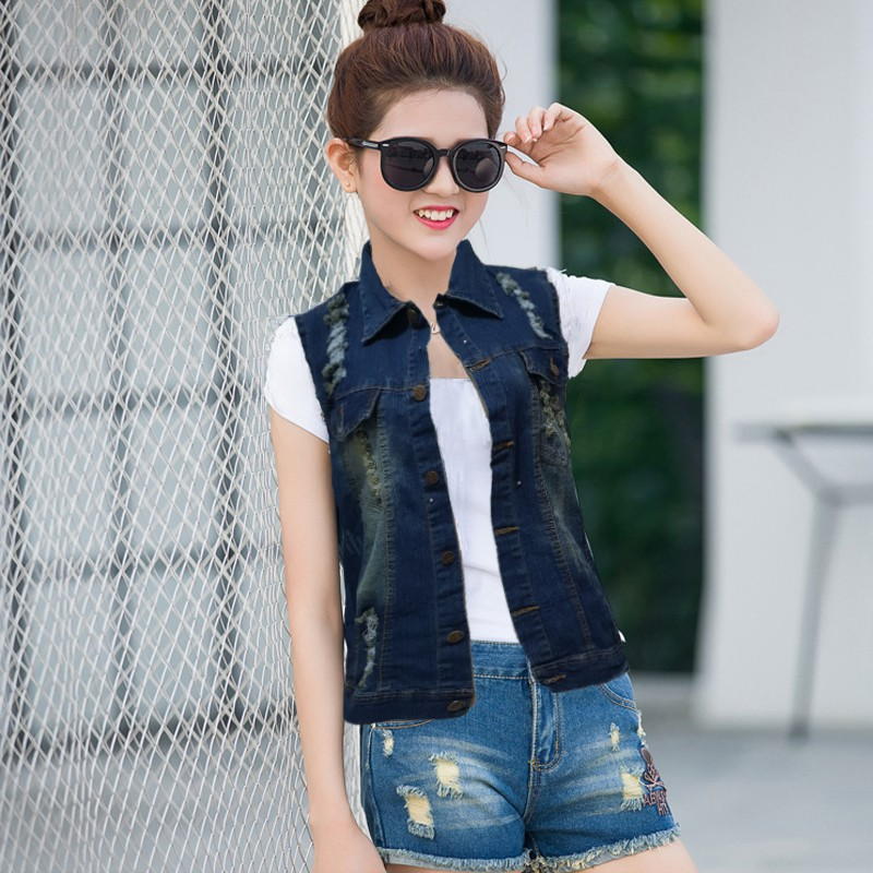 Rompi Jeans Wanita Tanpa Lengan Model Terbaru - XSHOP Jacqline ...