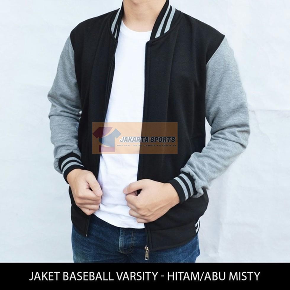 Promo Jaket Baseball Polos Navy Lengan Abu Sweater Pria Cowok Murah Karlit Fleece Button Distro Varsity Shopee Indonesia