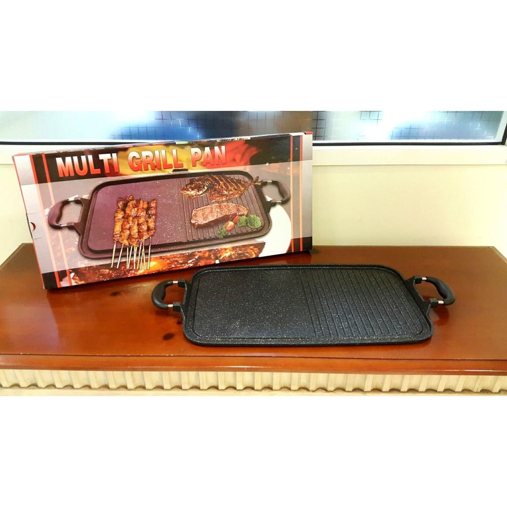 Multi Grill Pan Original Alat Panggang Serbaguna Sate Ayam Ikan Square 20 Cm Teflon Wajan Bbq Bakaran Bakar Shopee Indonesia