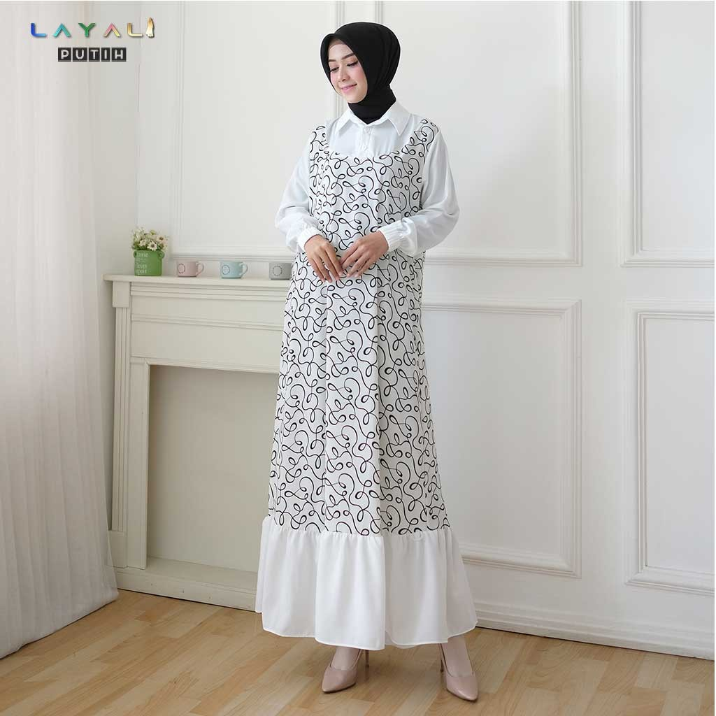Model gamis terbaru 10-gamis lebaran -motif polkadot mix salur DANITA  DRESS BY LAYALI