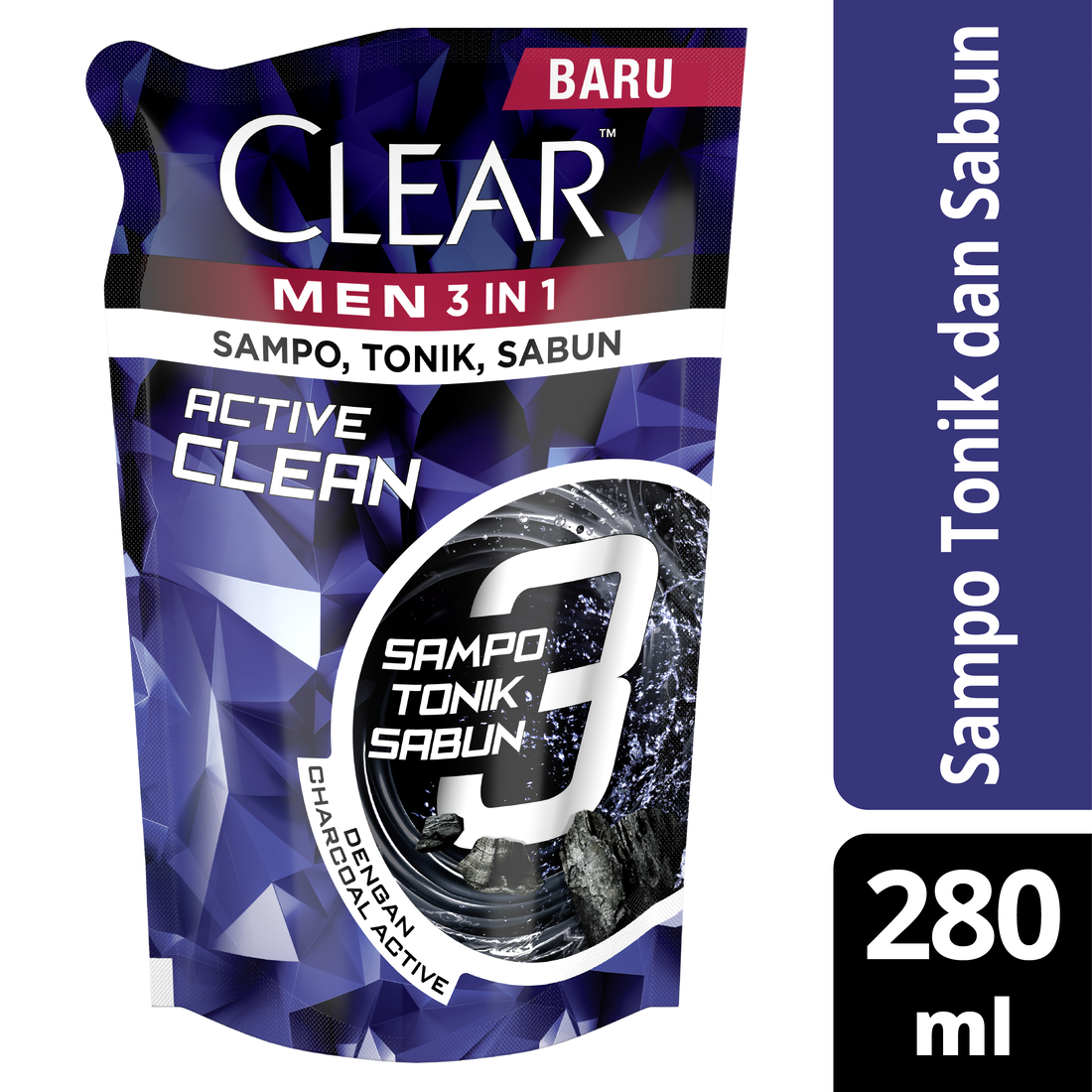 Clear Men 3-In-1 Shampo Active Clean Bottle 280ml