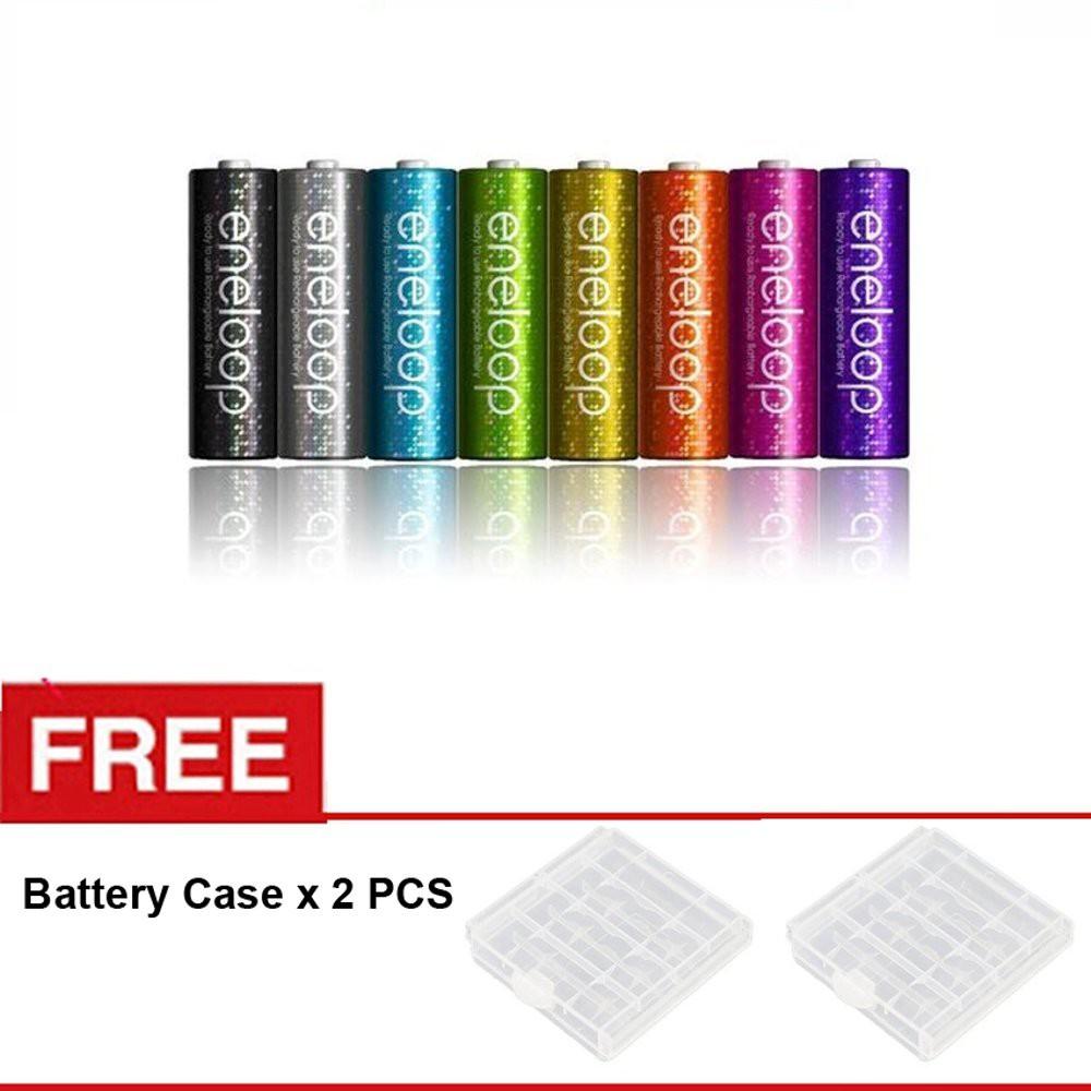 Sanyo Eneloop AA Rainbow 2000mAH - BP8 - Free Battery Case | Shopee Indonesia