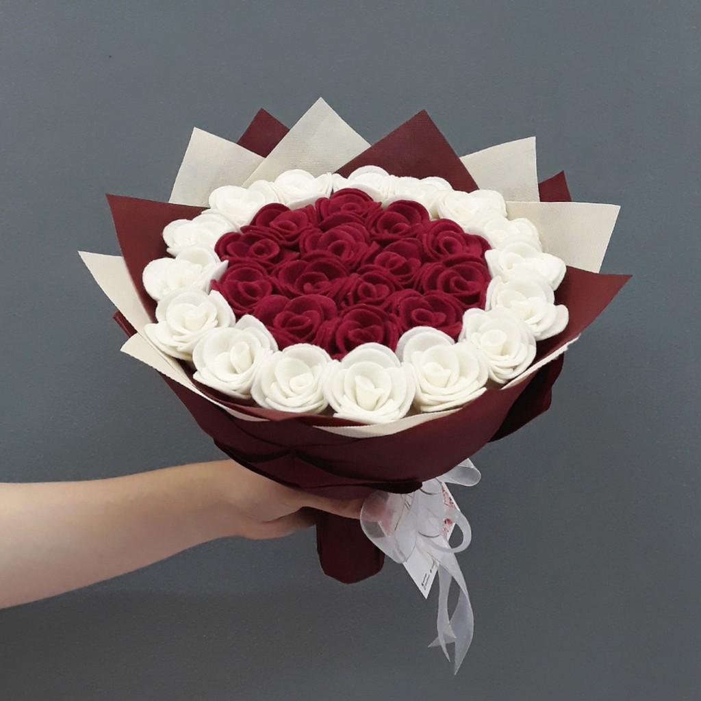 Buket bunga flanel kombinasi biru / hand bouquet / Buket bunga wisuda, hadiah anniv, ultah, dll | Shopee Indonesia