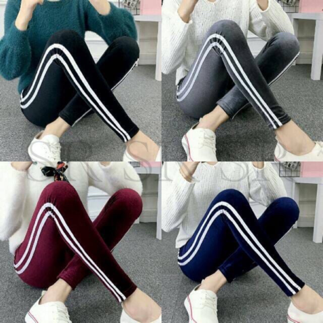 Terlaris Legging Beludru Velvet Bludru List Legging Stripes Garis Samping Import Wanita Murah Shopee Indonesia