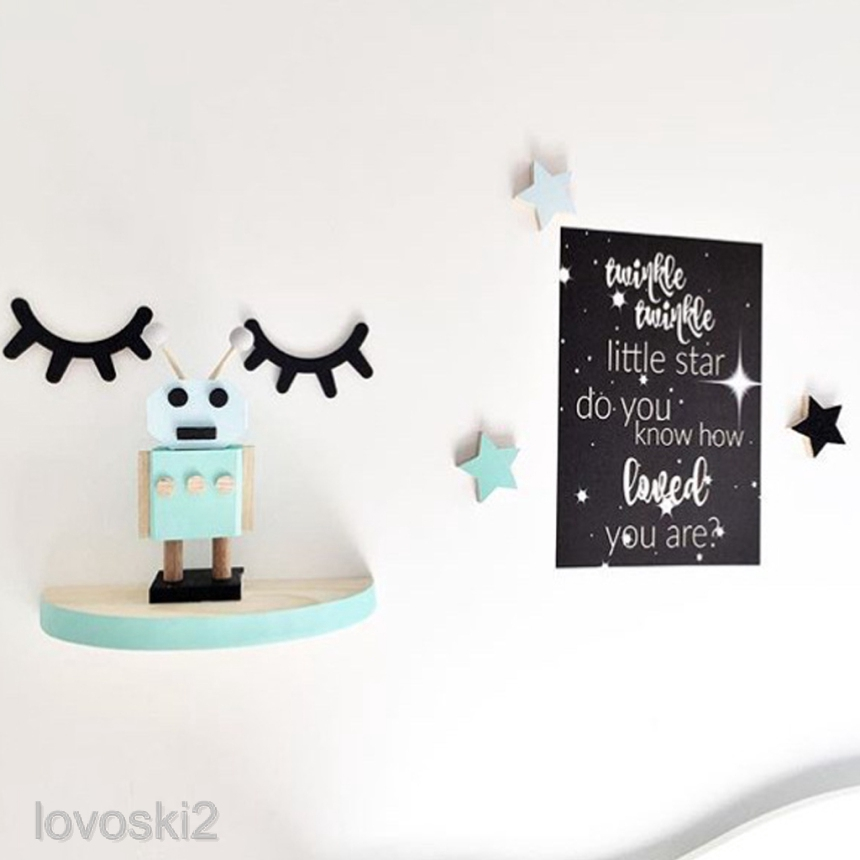 2pcs 3D Eyelashes Wooden Wall Sticker Decal Girl Bedroom Decoration Accessories