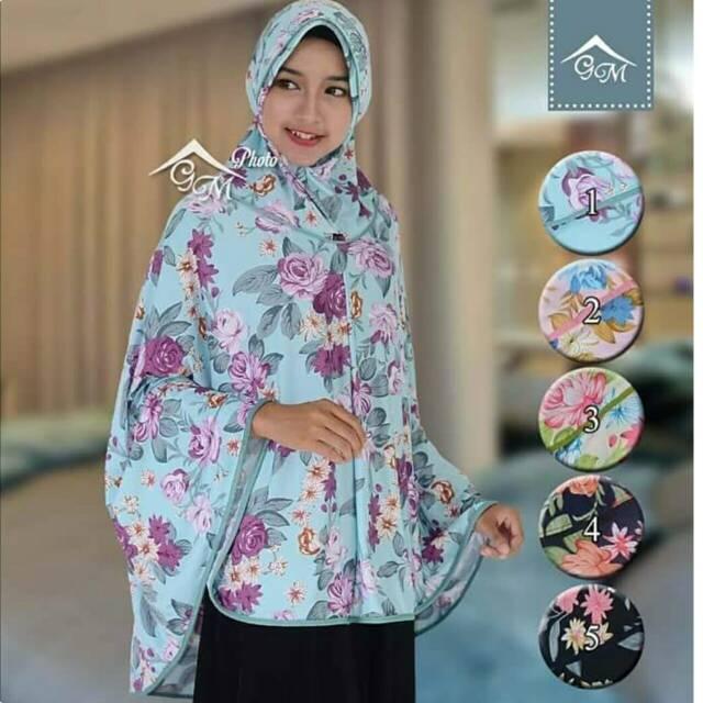Khimar Motif Bunga Khimar Flower Jilbab Jumbo Motif Bunga Jilbab Jumbo Besar Shopee Indonesia