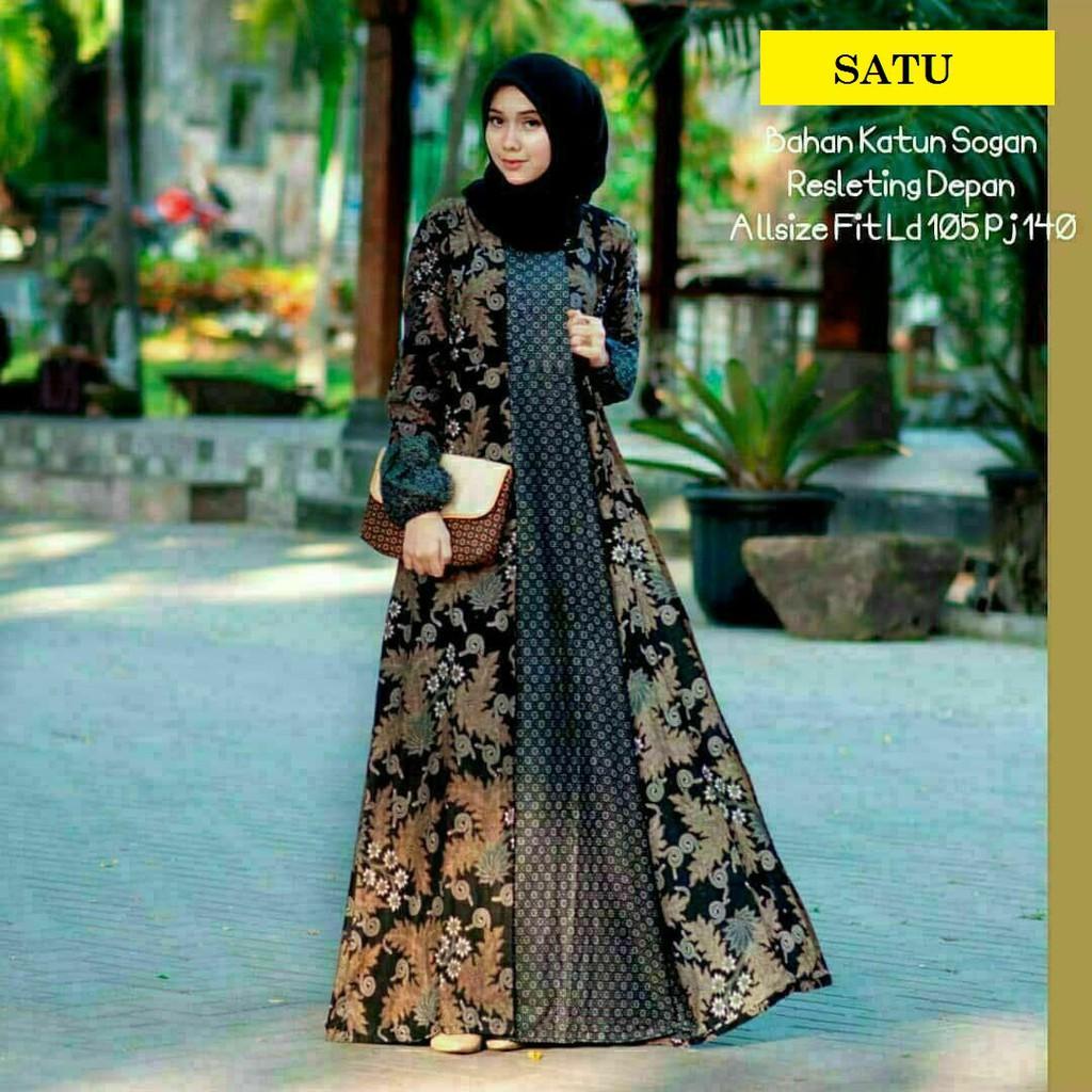 Gamis Batik Syari Sogan Kombinasi Trendy Modern