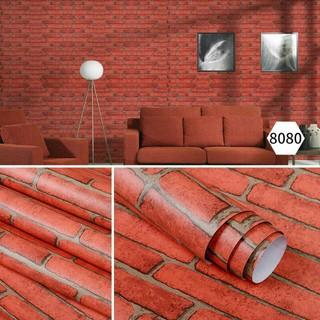 wallpaper bata merah ekspos sticker import dekorasi dapur