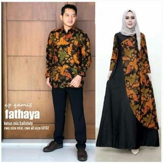 Batik Gamis Brokat Delima Sanjaya Sarimbit Couple Modern Muslim Syarii Seragam Pesta Kondangan Solo