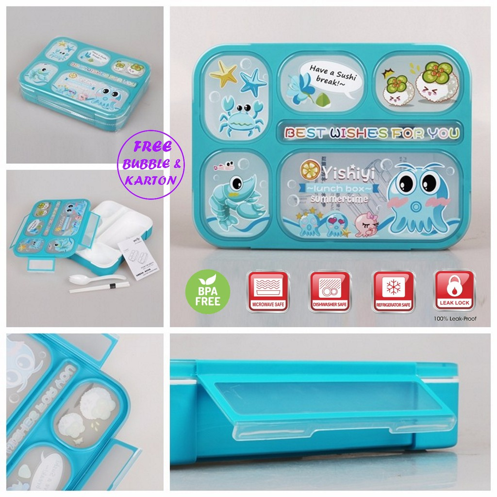Lunch Box Yooyee 4 Sekat Anti Bocor Kotak Makan Bento Grid Leak Proof yooyee 578 Tempat Makan Murah | Shopee Indonesia