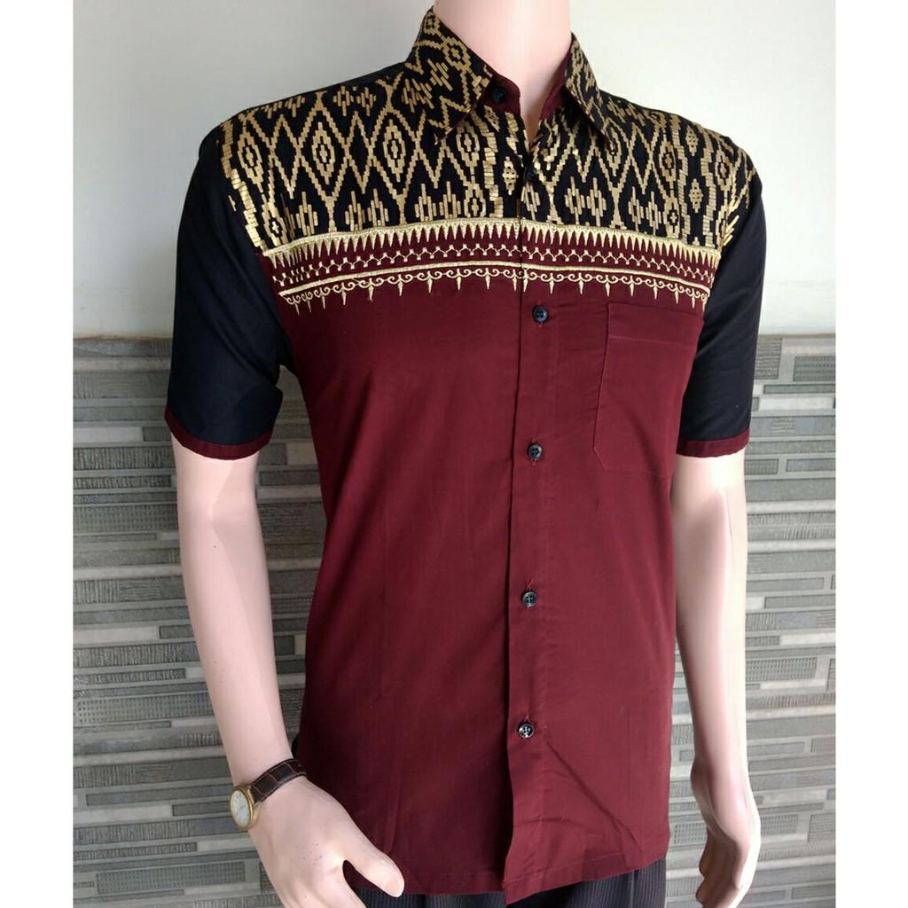 Baju Batik Pria Bordir Kombinasi Kain Polos Maroon