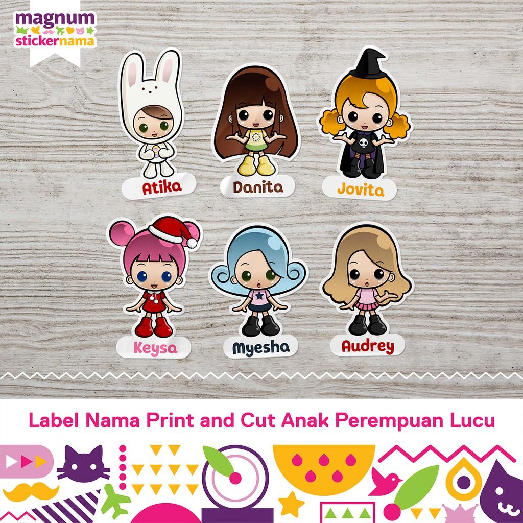 Label Nama Waterproof Stiker Nama Print And Cut Gambar Anak Perempuan Lucu