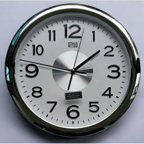 Jam Dinding Elegant dengan Chrome Putih SAKANA - Bonus Baterai ... f86f547f54