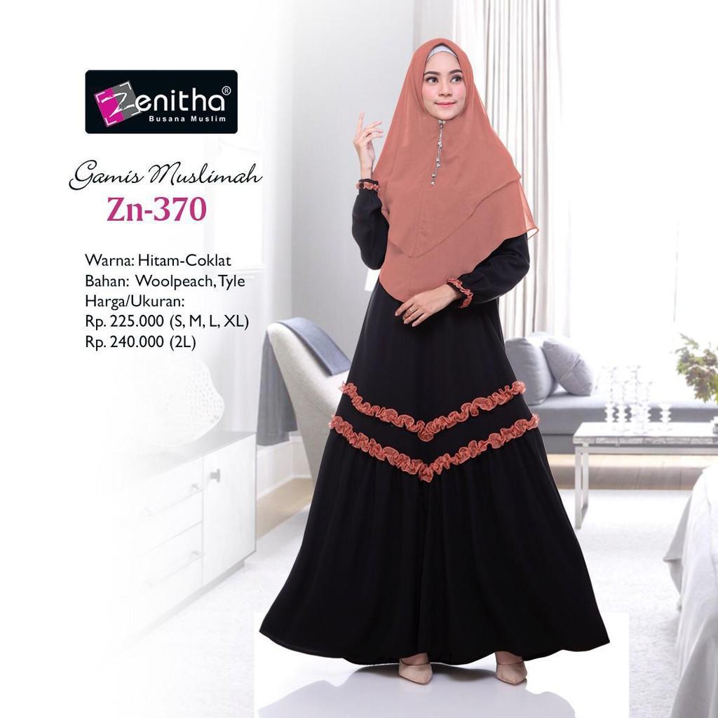 Zn 370 Busana Muslim Wanita Baju Gamis Wanita Woolpeach Dan Tile By Zenitha Shopee Indonesia