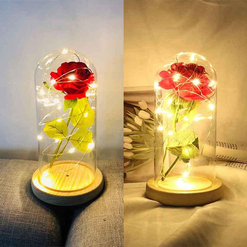 20LED Enchanted Rose Glass Dome Light Lamp Christmas Wedding Home Decor Gift Kit