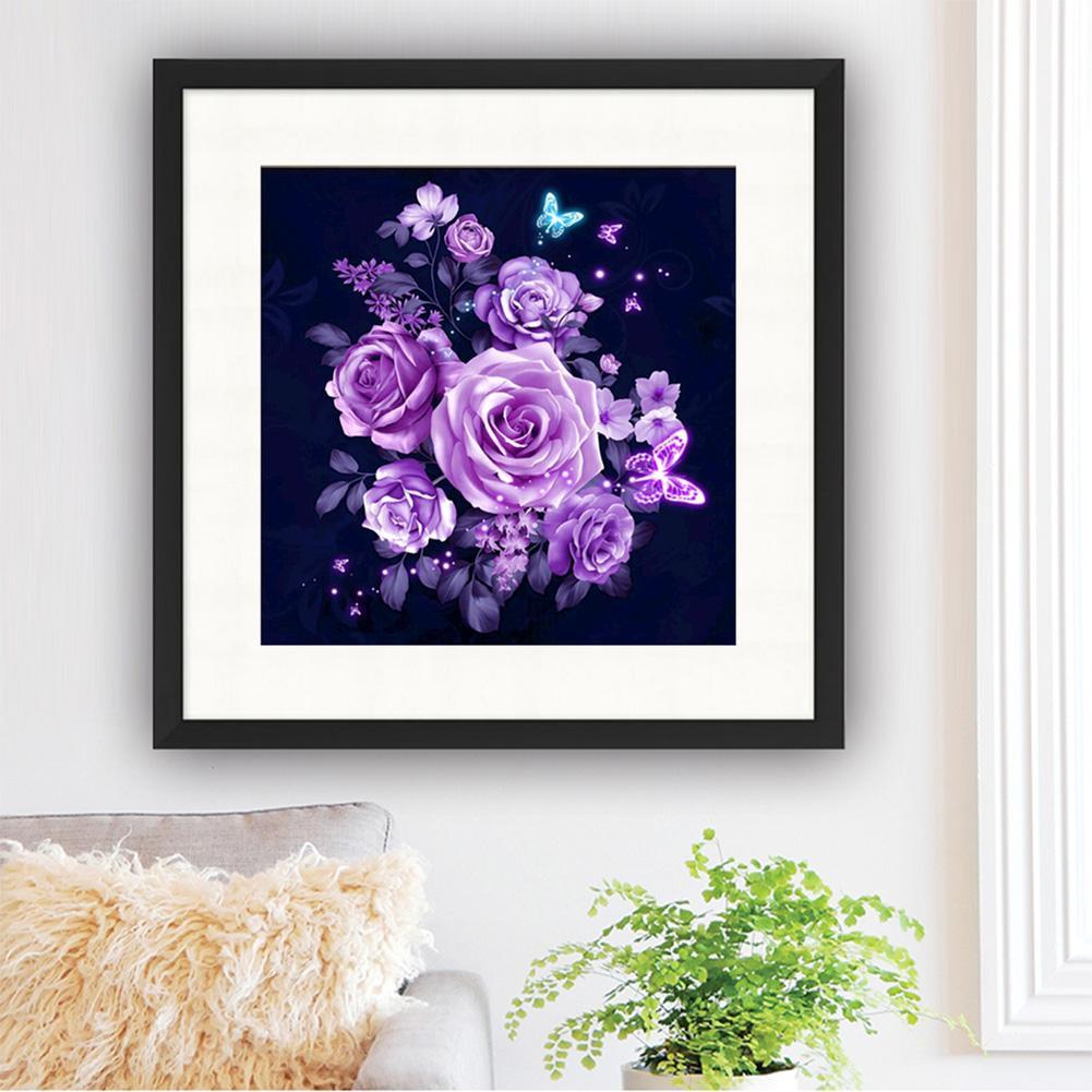 DIY Lukisan Diamond 5D Dengan Gambar Bunga Mawar Warna Ungu Untuk Hiasan Dekorasi Rumah