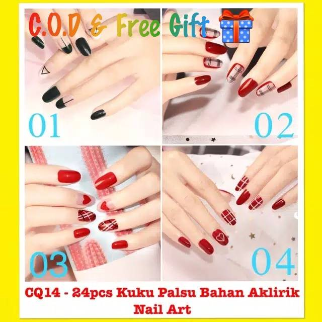 Jual Strawberry Nail Henna Hitam: Kuku Palsu Wedding / Nail Art 24pcs Snoopy Alpukat