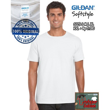 OmBotak Kaos Polos Gildan Softstyle 63000 ukuran S M L XL Import Original Murah Baju Unisex Sablon | Shopee Indonesia