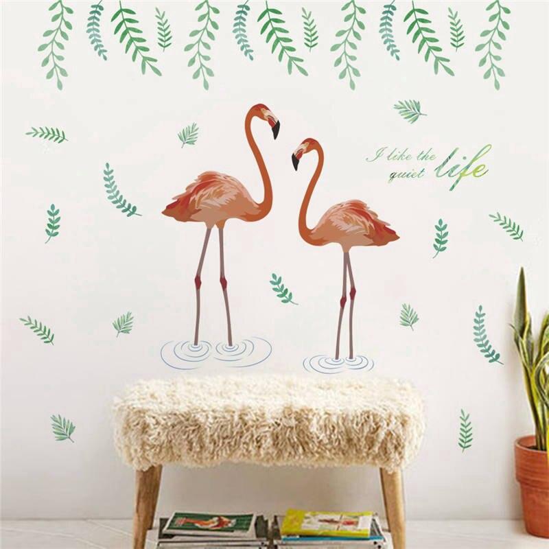 Flamingo Leaf Wall Sticker Pintu Pesawat Wall Furniture Dekorasi