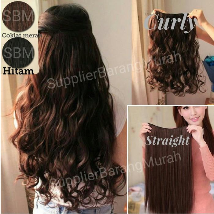 Hair Extension Perpanjangan Rambut Model Klip Clip Wigs Straight Lurus 60 Cm | Shopee Indonesia