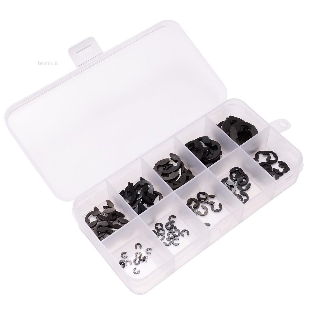 10mm E Clip Retaining Circlip Carbon Alloy Steel Assortment Set 120pcs 1.5mm