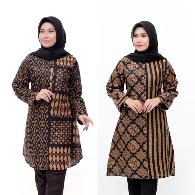 Model Baju Batik Wanita Terbaru 2020 Atasan Lengan Panjang Tunik Wanita Gemuk Jumbo Size Shopee Indonesia
