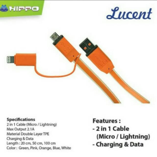 Kabel USB 2in1 Micro Lightning Charger Data Samsung Xiaomi Oppo Lenovo BB iPhone Original Hippo  