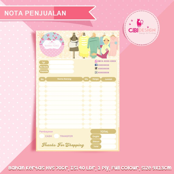 NOTA KWITANSI 1/6 Folio 2-APPLY **CUSTOM** **FREE DESAIN** | Shopee Indonesia
