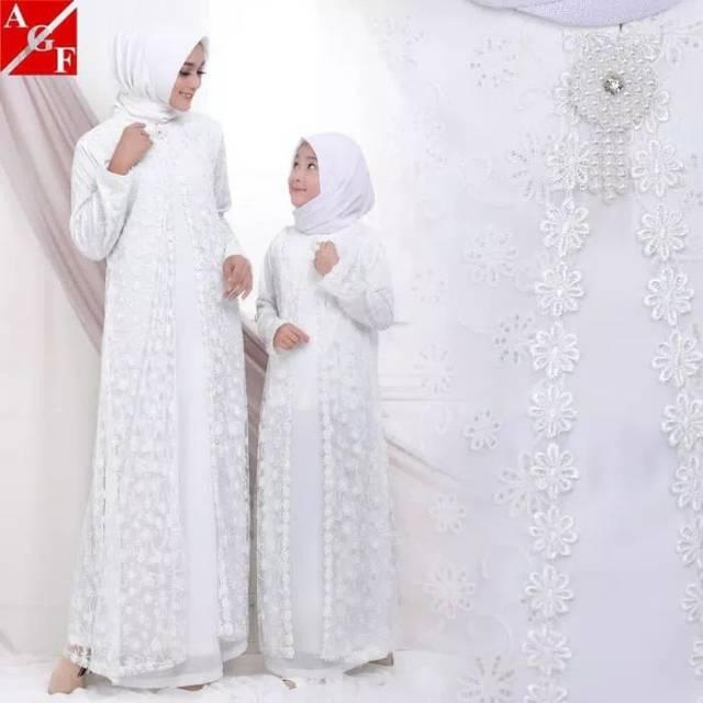 Baju Gamis Putih Gamis Couple Ibu Dan Anak Busana Muslim Wanita Gamis Umroh Dress Muslim Putoh Shopee Indonesia