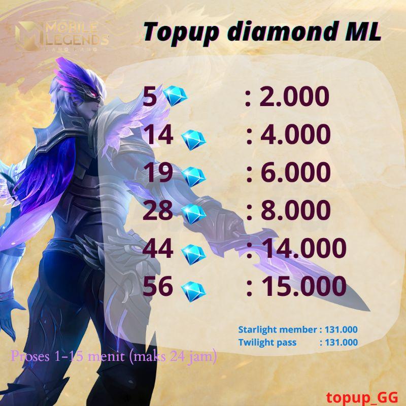 TOPUP DIAMOND MOBILE LEGENDS~DM ML MURAH 5-56 DIAMOND