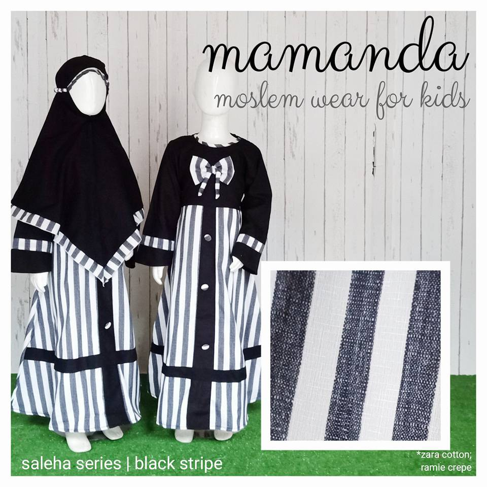 Gamis Anak Black Stripe Saleha Series by Mamanda