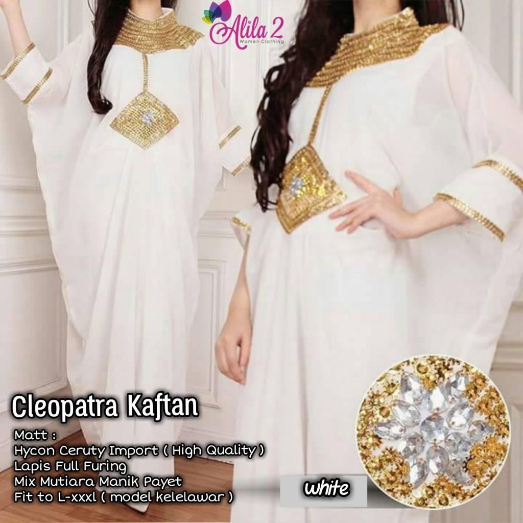 Realpict Cleopatra Kaftan Payet Mutiara Kelelawar Busana Muslim Long Dress Pesta Wanita Party Alila Shopee Indonesia