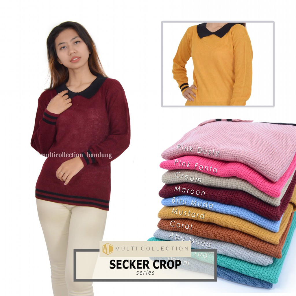 chubby fashion SWEATER CROP CATURR SWEATER ATASAN WANITA NO.490 | Shopee Indonesia