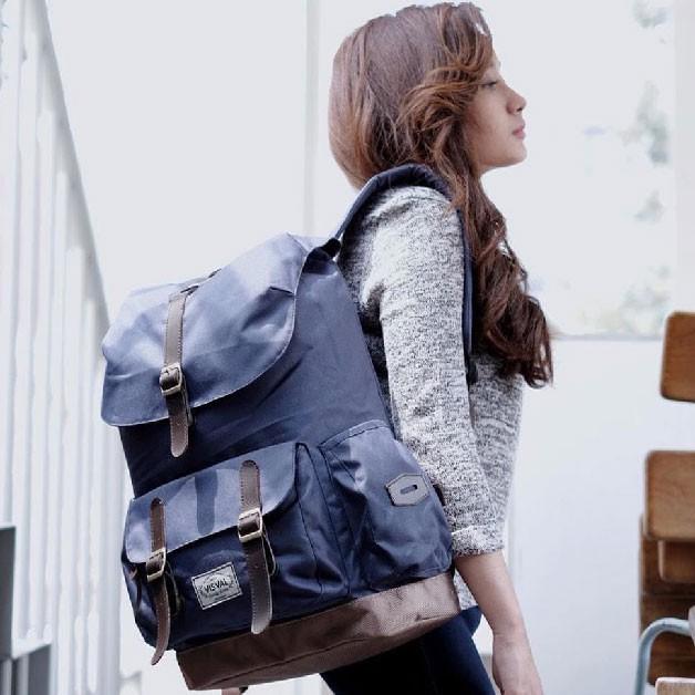 Tas Ransel Laptop Backpack Visval Abigail Gendong Branded Pria Wanita  Kuliah Kerja Sekolah Murah Ori. Ke Toko f22e109c21