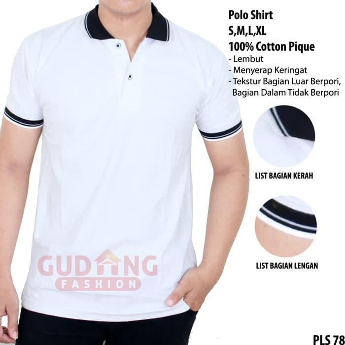 New Kaos Polo Polos Depan Belakang Pls 78 Putih S Shopee Indonesia