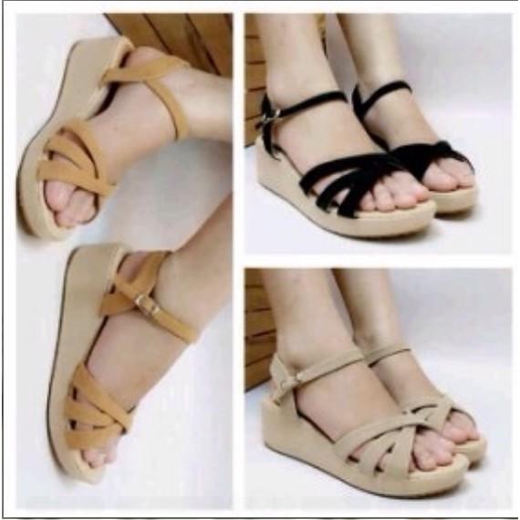 960da2f82f24 Sandal Wedges Wanita Tali Silang Bunga Hitam Sendal Cewek Kasual ...