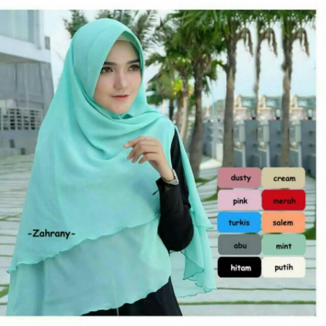 Jilbab Hijab Kerudung Murah Khimar Sabrina 3 layer Jumbo | Shopee Indonesia