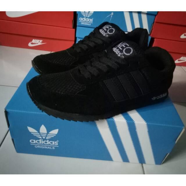 Sepatu Sekolah Adidas Neo Full Black Hitam Anak Pria Wanita Cewe Cowo Laki  Perempuan Murah Grosir  9a0d9d9abd