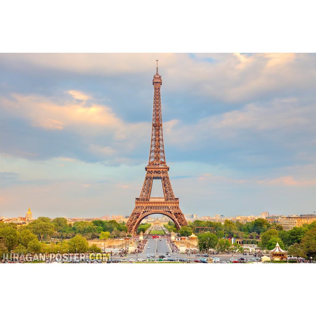Hiasan Dekorasi Dinding Poster Pemandangan Alam Menara Eiffel 16 60x90cm