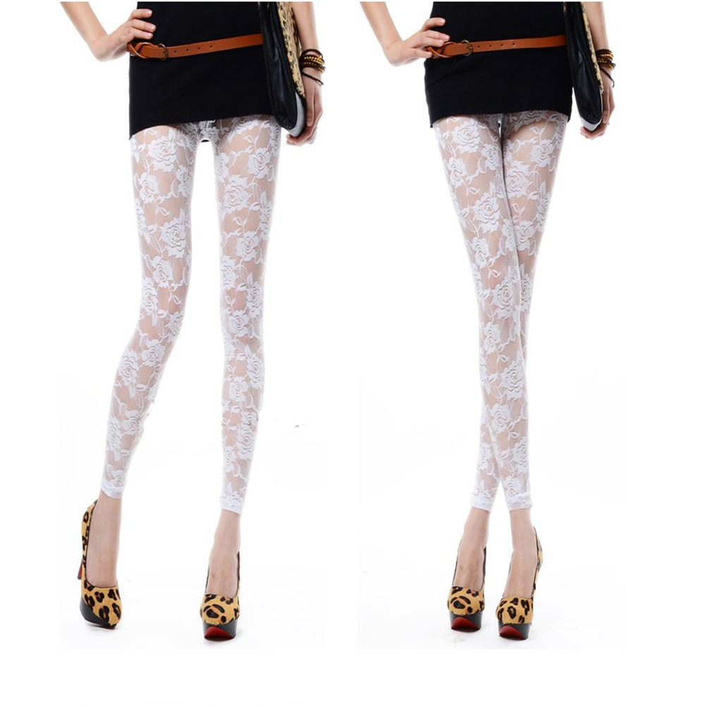 Kaos T Shirt Korea Lengan Pendek Bahan Lace Motif Bordir Bunga Mawar Azure Fashion Star Pants Legging Celana Panjang Shopee Indonesia
