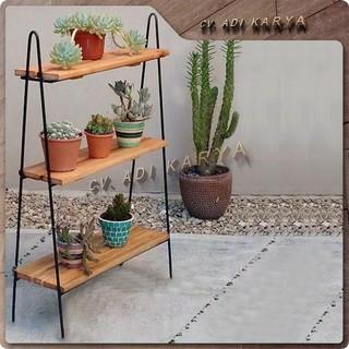 rak bunga susun besi kayu murah hiasan taman minimalis