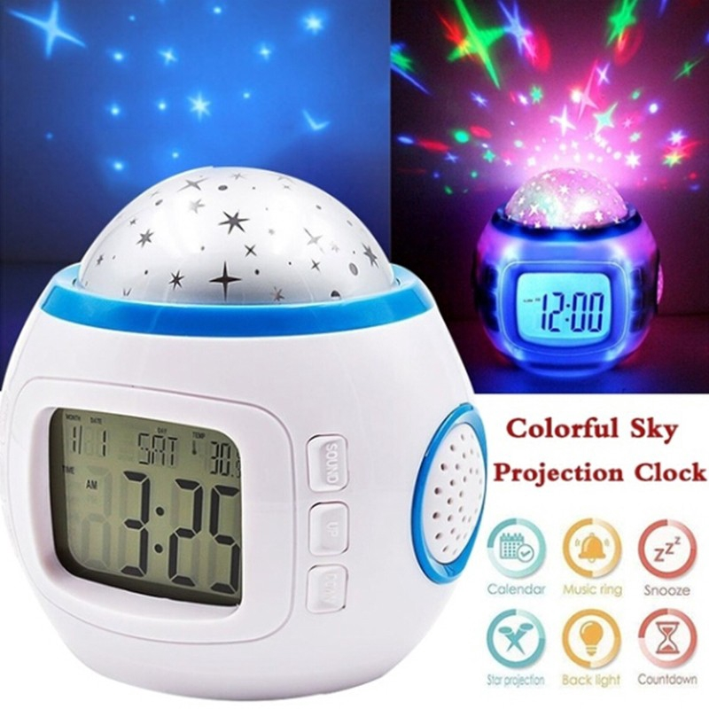 Cod Room Sky Star Night Light Projector Lamp Bedroom Music Alarm Clock Shopee Indonesia