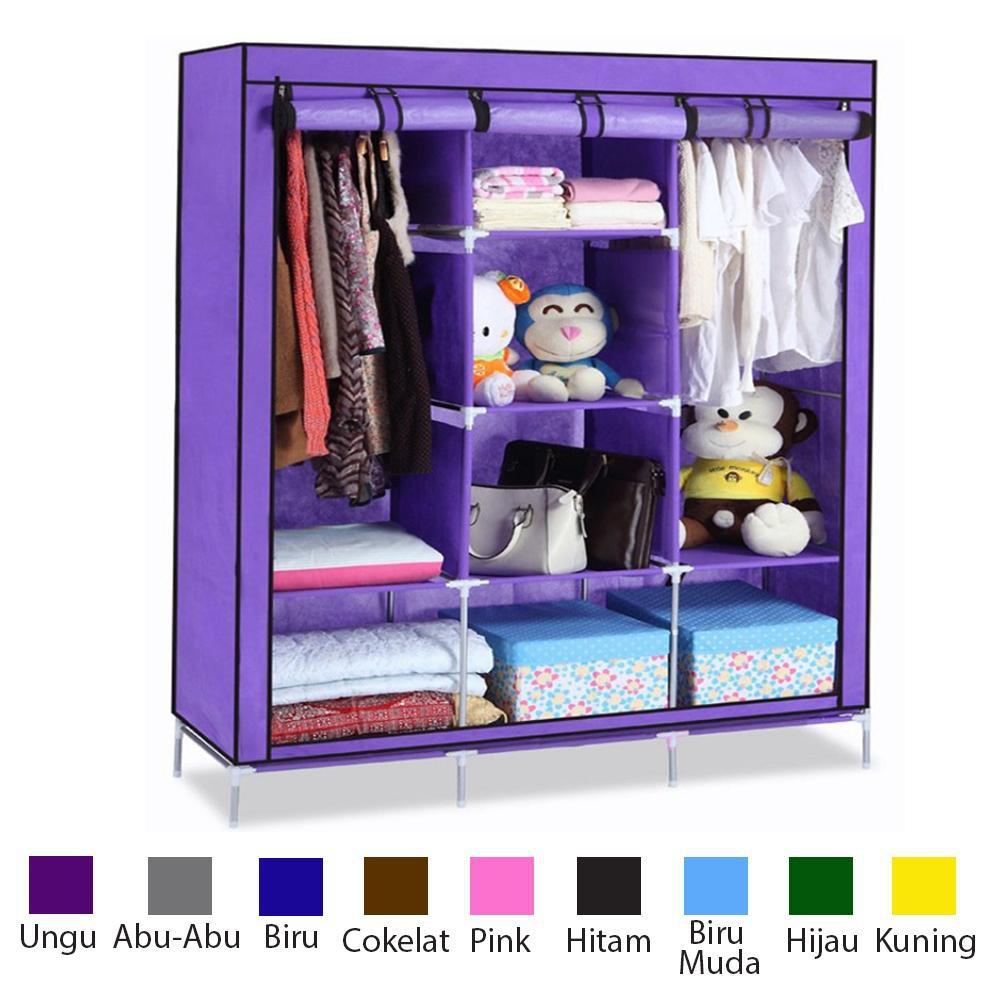 Promosi 08 London Lemari Pakaian Multifunction Wardrobe With Super Jumbo Kain Organizer Storage Portable Murah 3 Layer King Shopee Indonesia