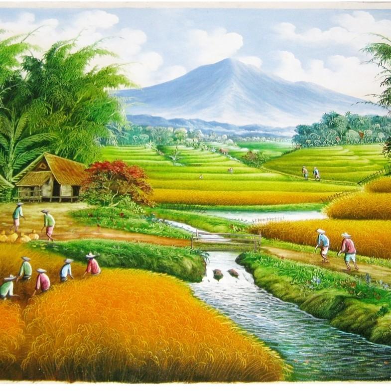 Lukisan Pemandangan Panen Padi Sawah Terasering dengan ...