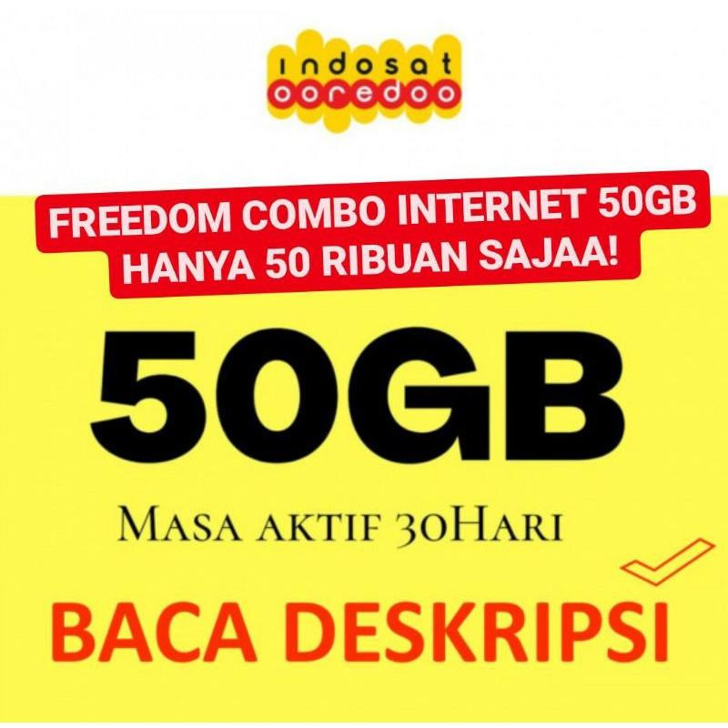 PAKET DATA INDOSAT FREEDOM INTERNET 50GB 30 HARI KUOTA - IM3 OOREDOO 150GB UNLIMITED 24 JAM GB COMBO