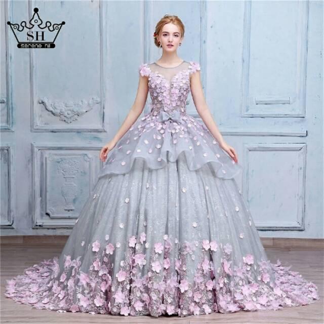 Gaun Pengantin Silver Baju Pengantim Ekor Mewah Wedding Gown Bunga