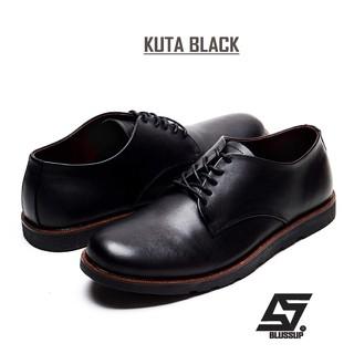kenzio kuta black  sepatu kulit pria casual semi formal