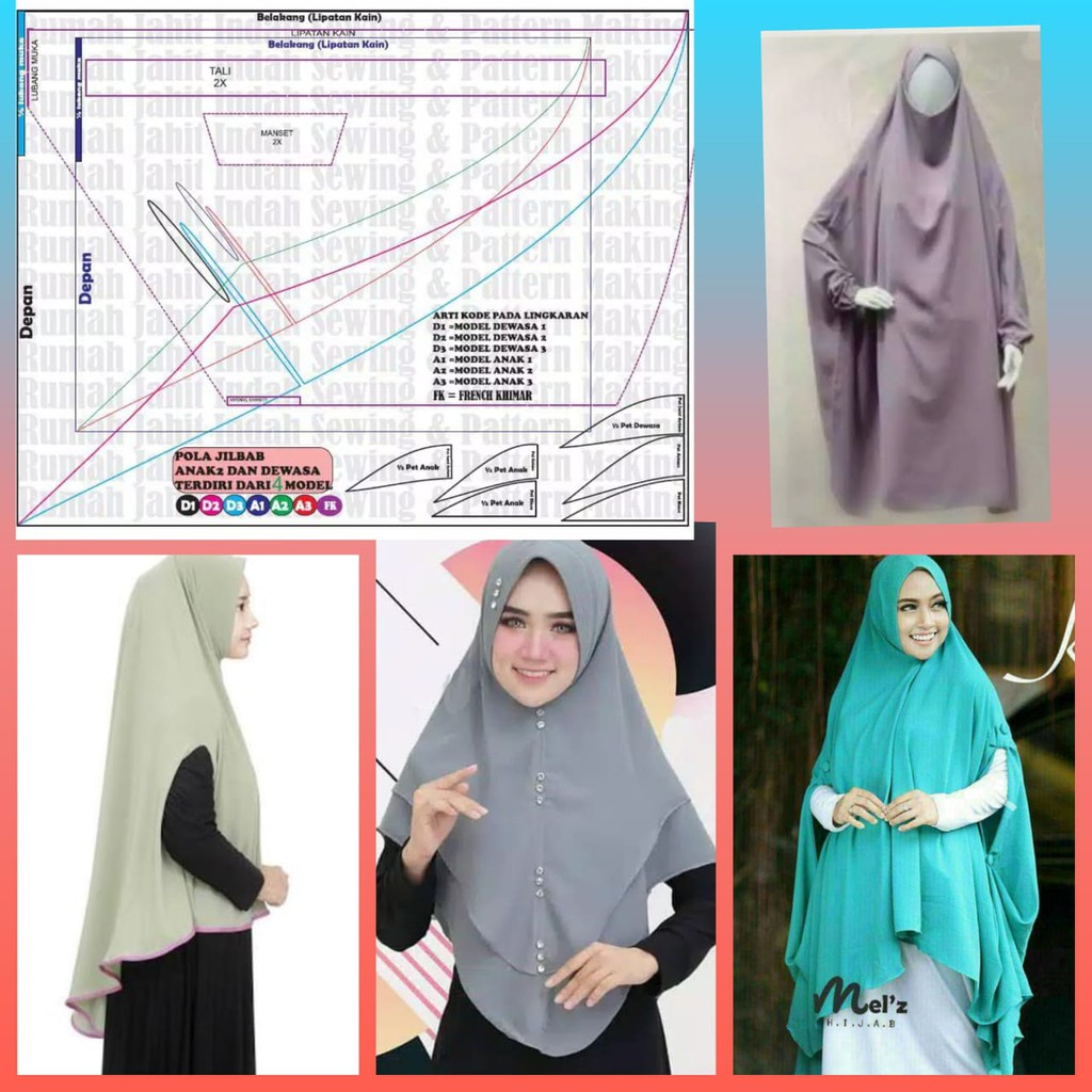 Pola Baju Pola Jahit Jilbab 4 Model Shopee Indonesia