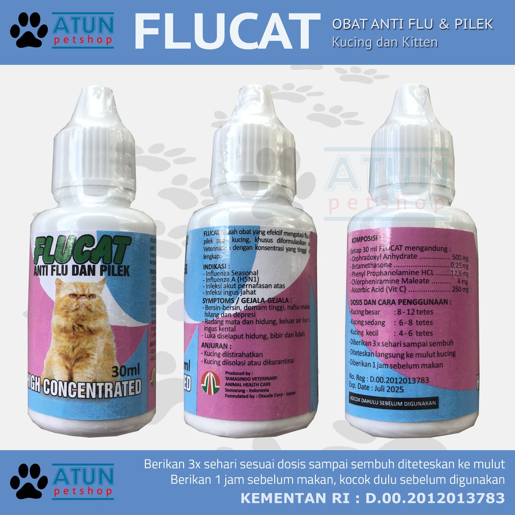 Obat Kucing Flu Pilek Demam Flucat Aman Terdaftar Deptan Shopee Indonesia